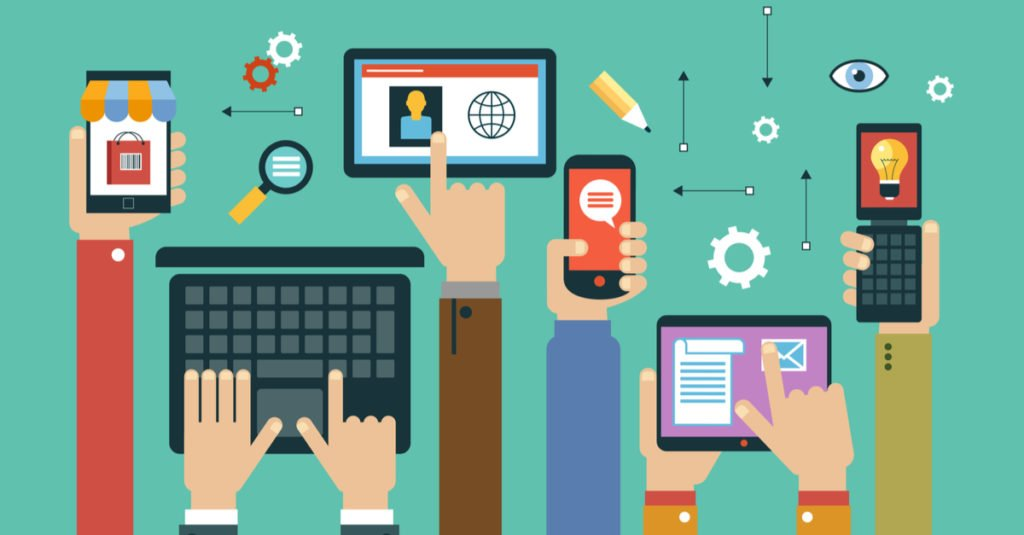 digital marketing graphic with hands using mobile devices