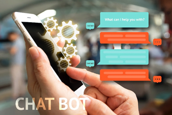 AI Chatbots graphic with user typing into phone and chat boxes popping up