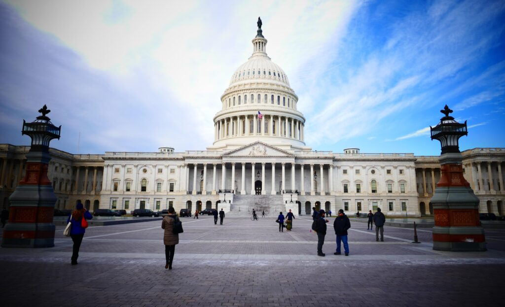 image of the senate from the front steps in article about how senate's rules shape tax laws